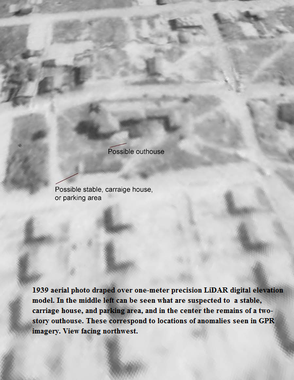 1938 aerial photo draped over one-meter precsision Lidar ground surface model, showing suspected features..png