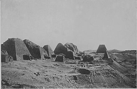 1922 photo of the Meroe pyramids, showing no sand dunes where we see them today.