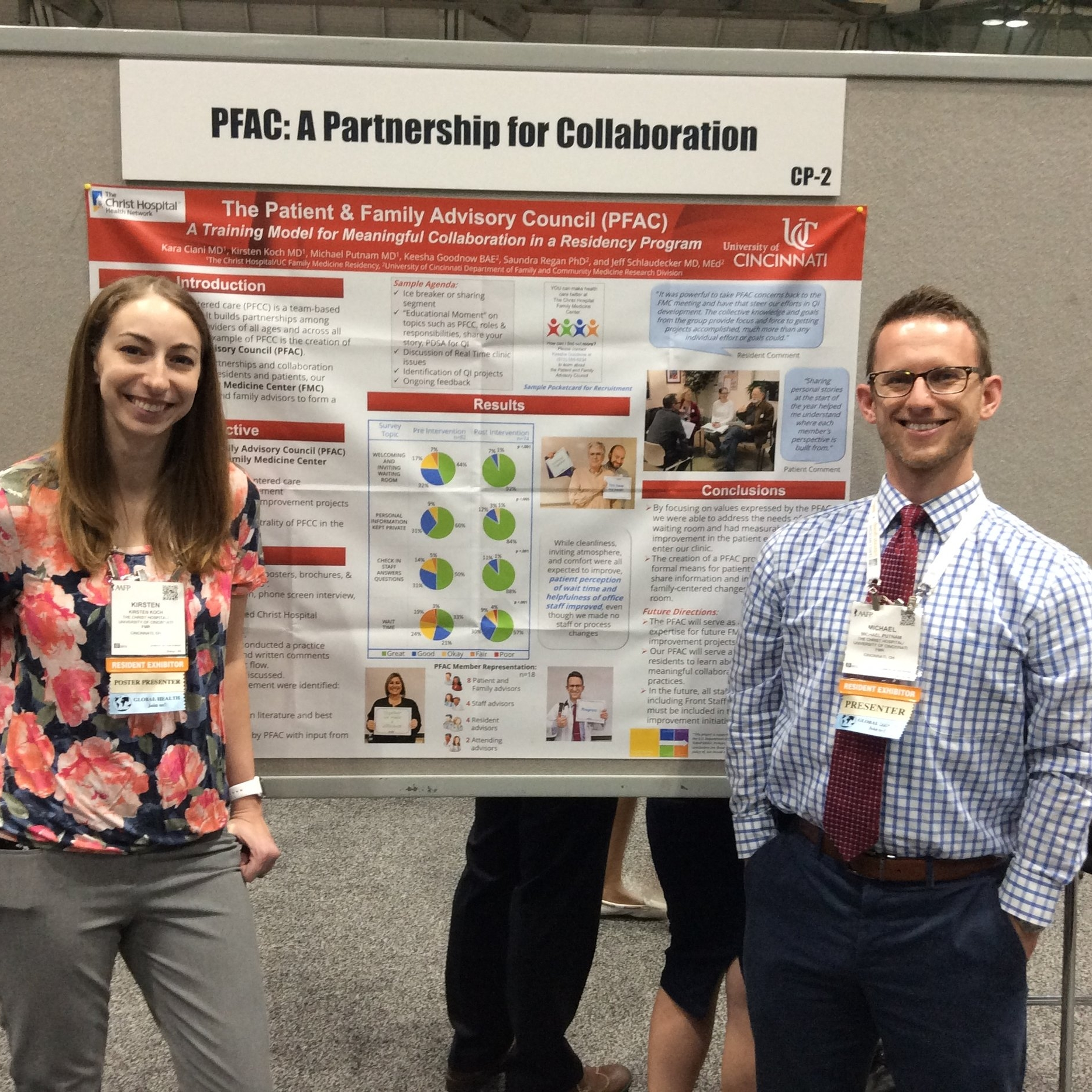 Two residents presenting the Patient and Family Advisory Council data and AAFP