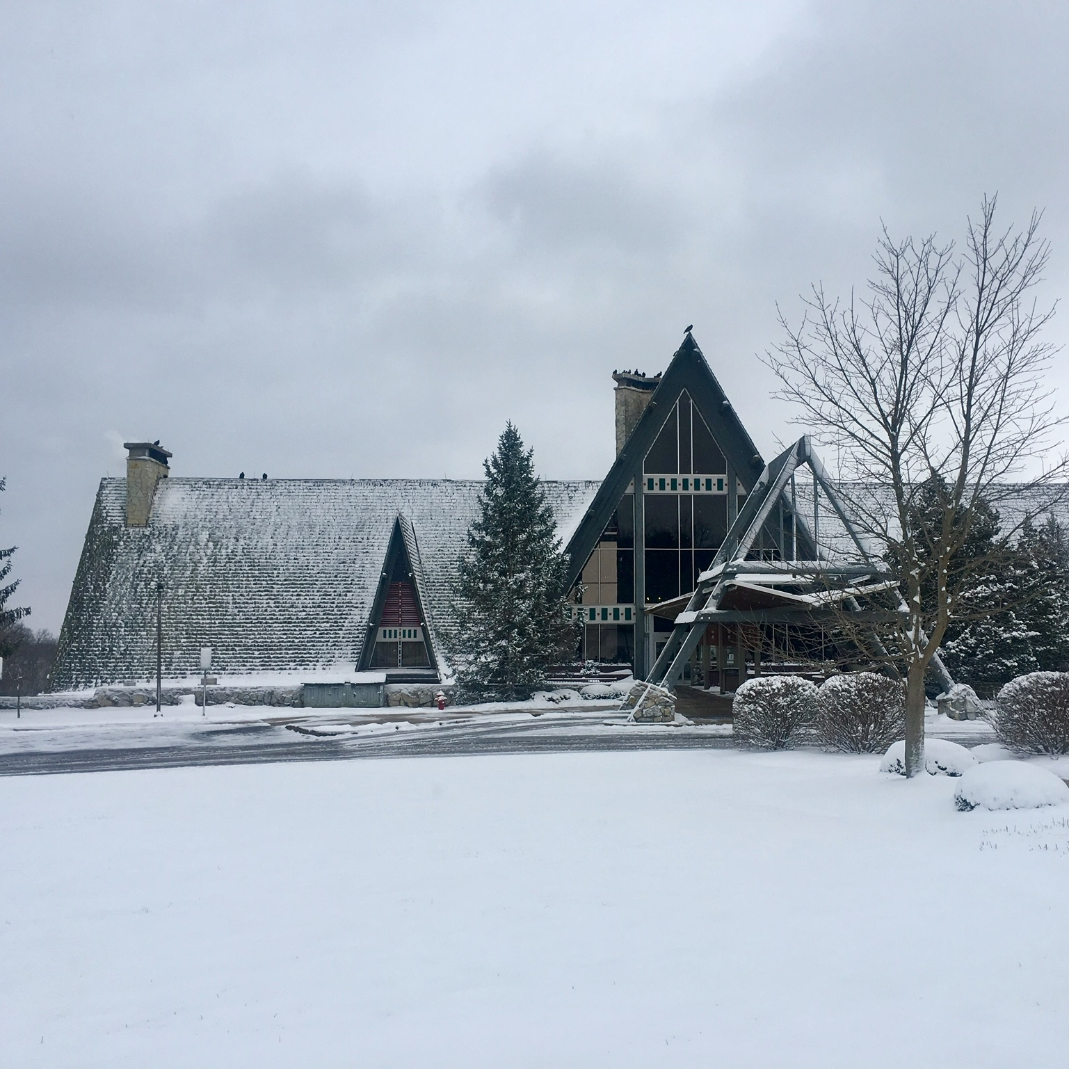 While it may look a little like that hotel in  The Shinning , Hueston Woods Lodge located about one hour from Cincinnati, is the welcoming sight of our yearly retreat. [Editor's note: while some of the picture may suggest otherwise, it does not always snow]