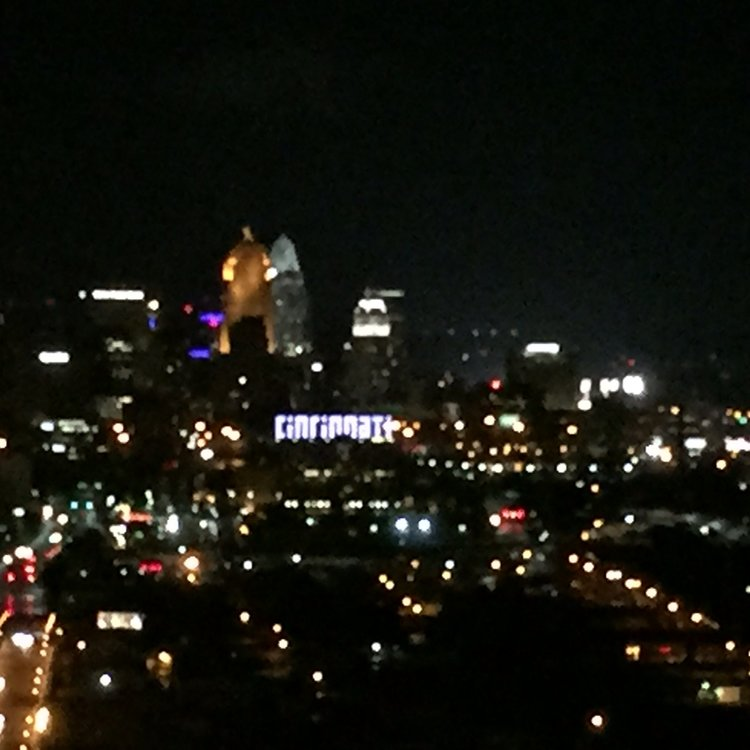Your eyes do not deceive you. The night sky does say Cincinnati!
