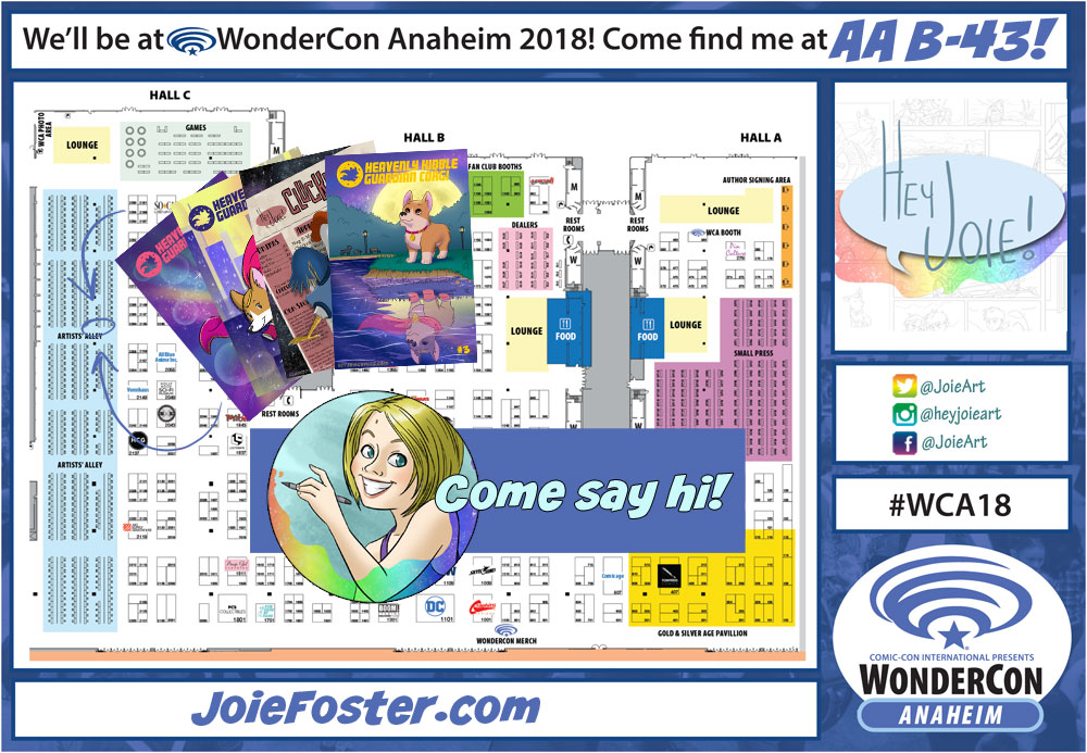 I'll be in the Artist Alley at table B-43! Geez, I need to update my self portrait...