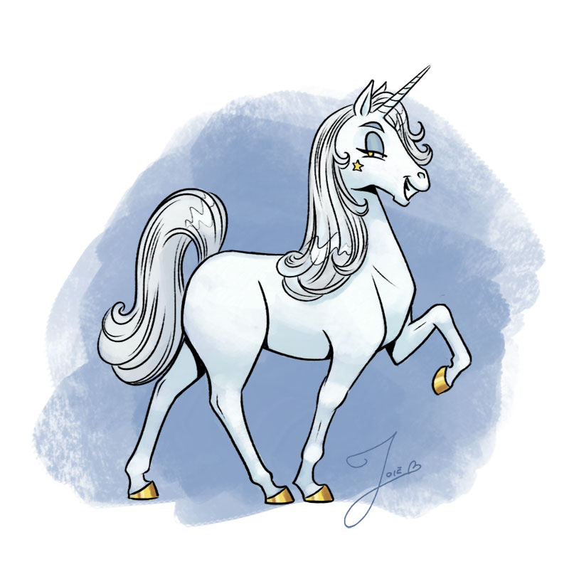 Here we have your standard model Unicorn. No frills, no upgrades, basic horn package (moderately pointy), and only produces glitter on weekends. She comes with four (4) hooves, an exhaust vent, and undercoating (while supplies last). This model, inexplicably, is equipped with a 2 horsepower engine.