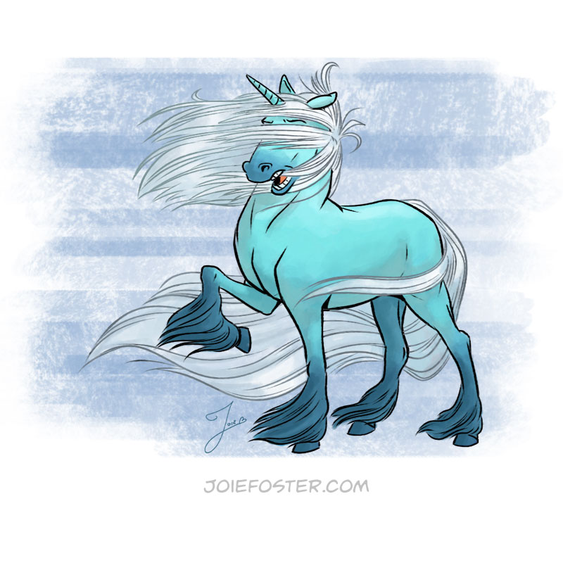 With a silky mane and perfect teeth, the Galeicorn is the most Instagram-famous of the unicorn world. Her legendary beauty is most often on display in photo shoots across mountain ranges and off the rugged Pacific Coast. While she can tame the winds with her magic, her hair is a little less submissive. Nine times out of ten, the photos end up looking something like this.