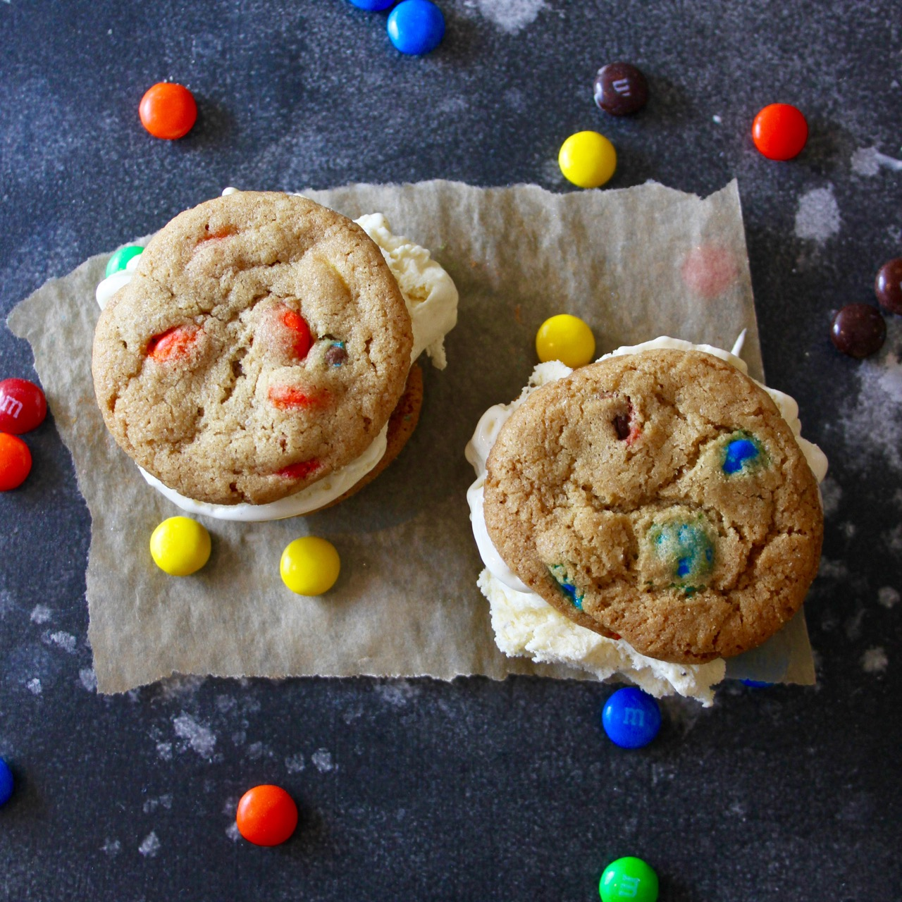M&M Cookie Ice Cream Sandwiches