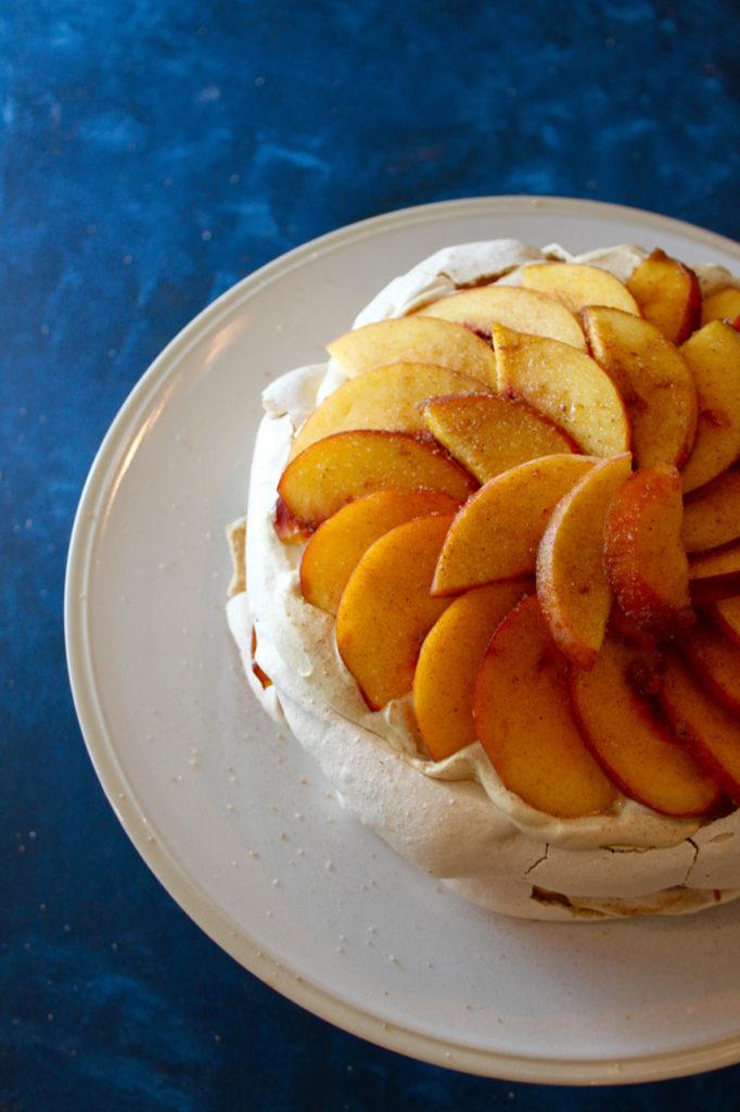 Salted Caramel-Spiced Peach Pavlova