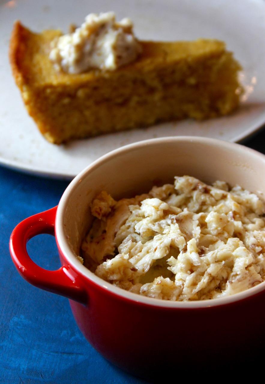 Buttermilk Brown Butter Cornbread with Bourbon-Maple Pecan Butter