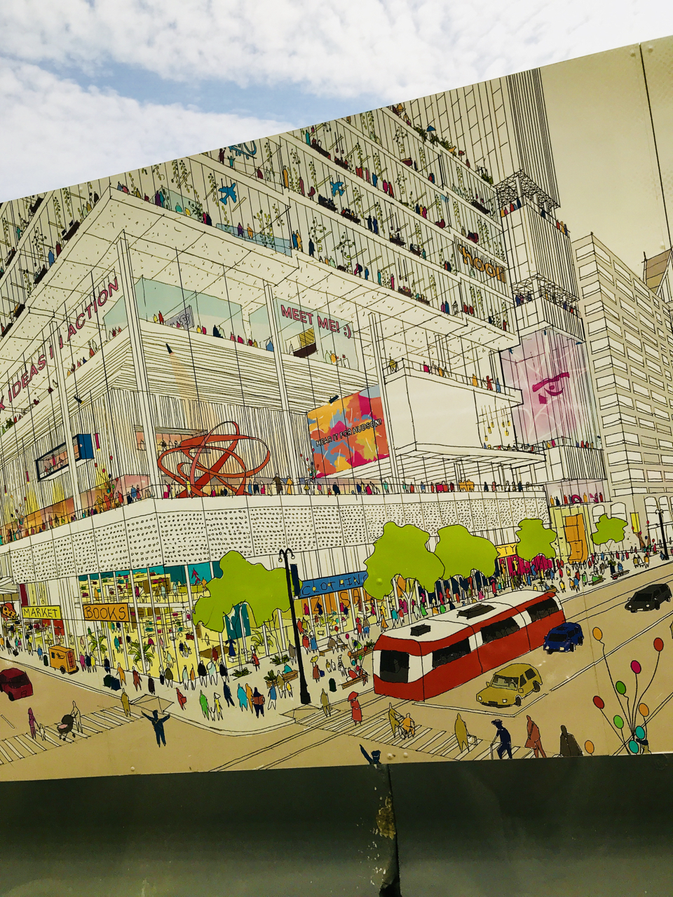 The Drawings for a Mixed-Use Space where the Hudson's Department Store once stood.