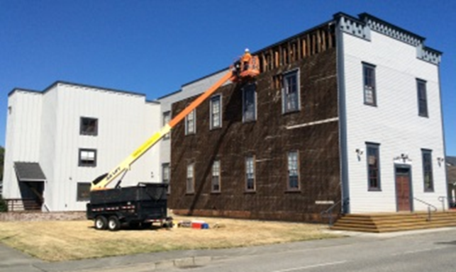 Work on the Floyd Norgaard center in Stanwood received $30,000 worth of grant money to restore one side of the building