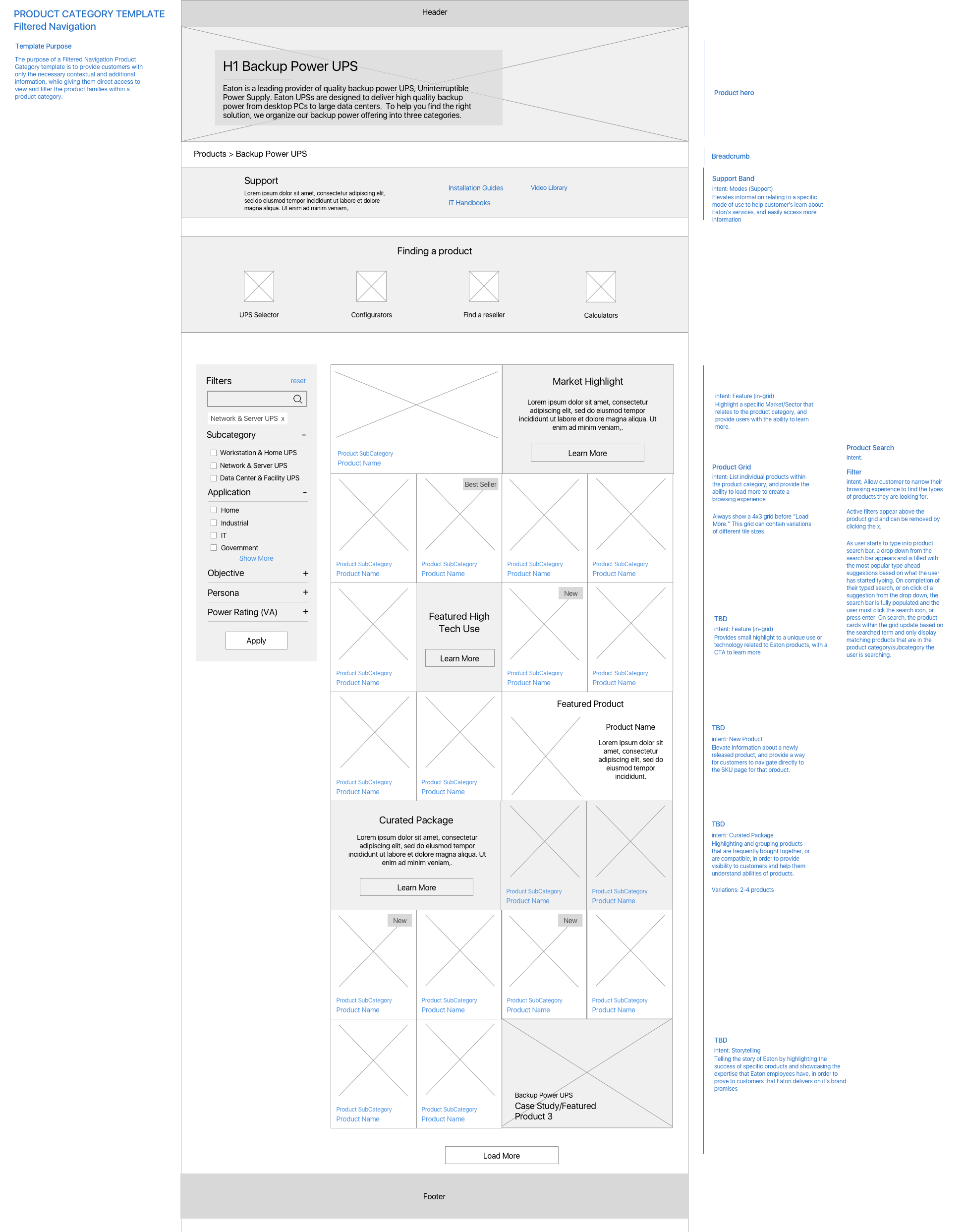 Product Category Wireframe