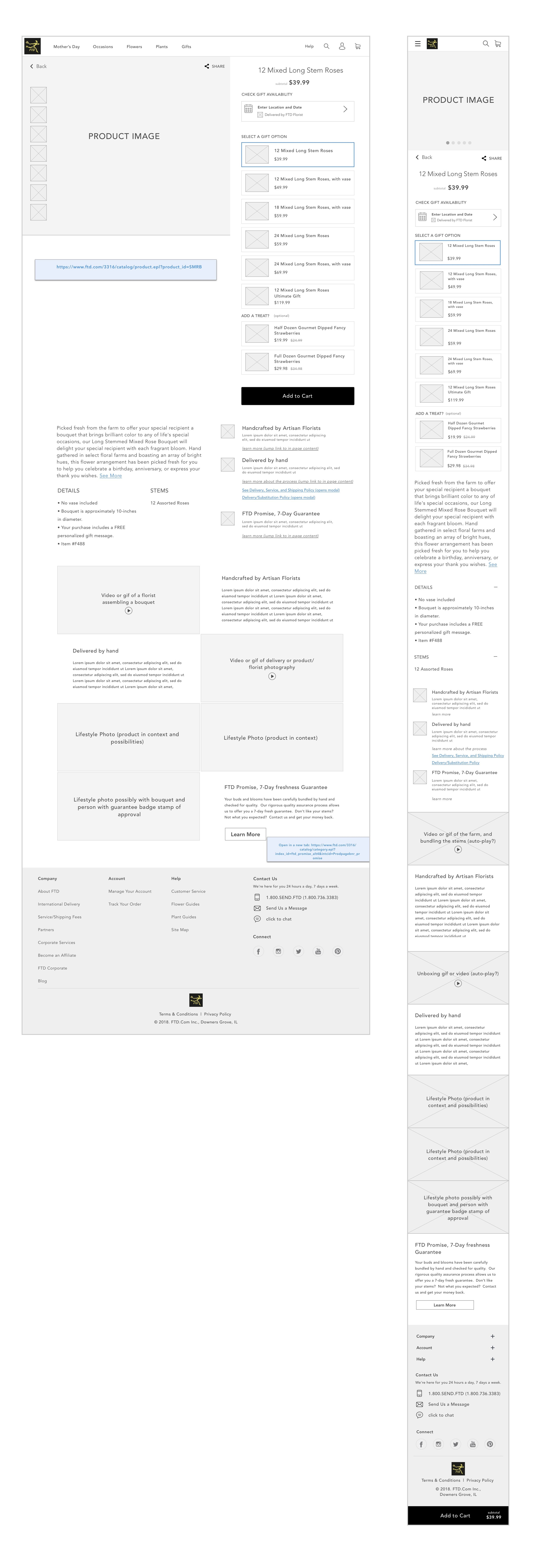 FTD Product Page Wireframe
