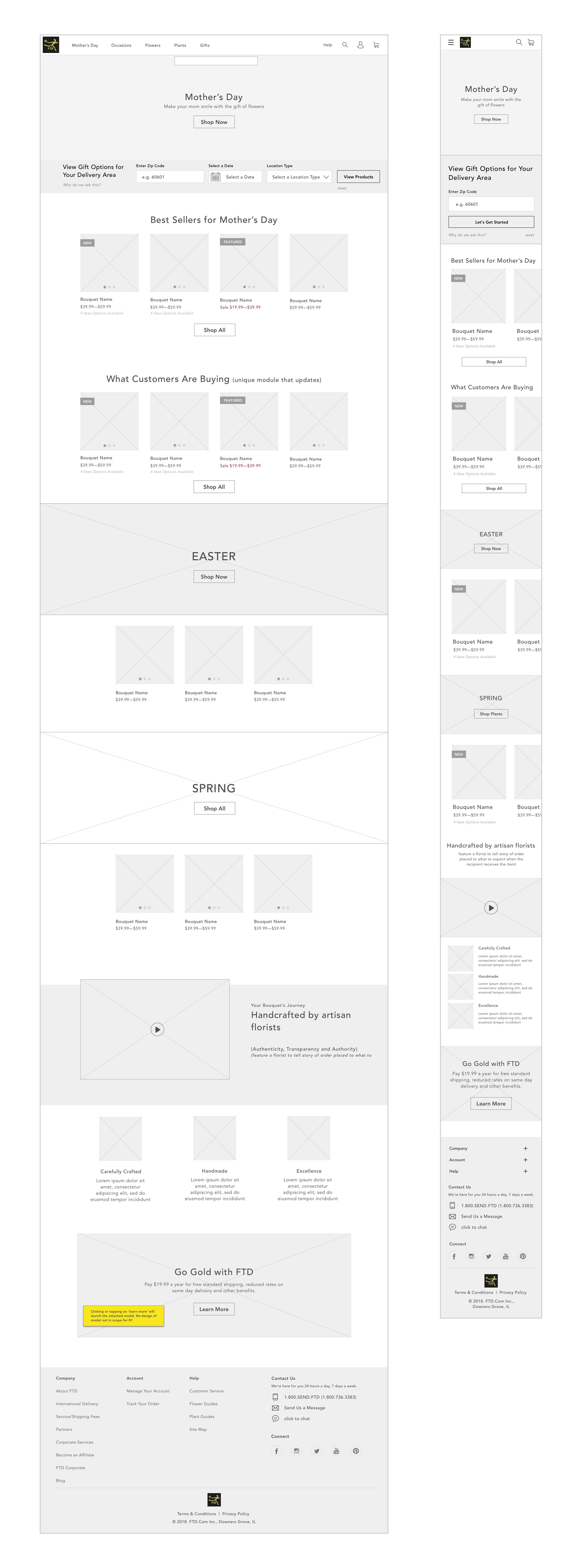 FTD Homepage Wireframe