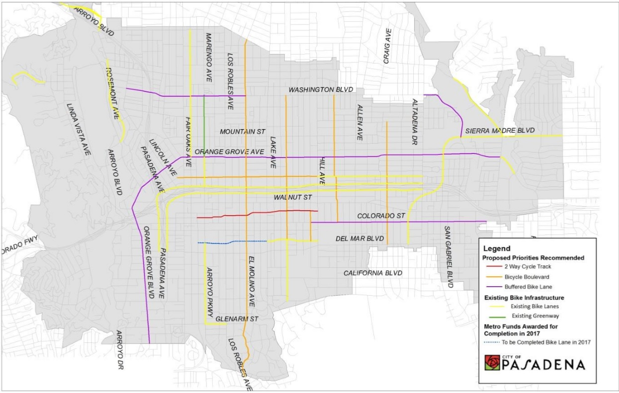 Pasadena Department of Transportation, Mobility Element - This map from the Mobility Element shows future