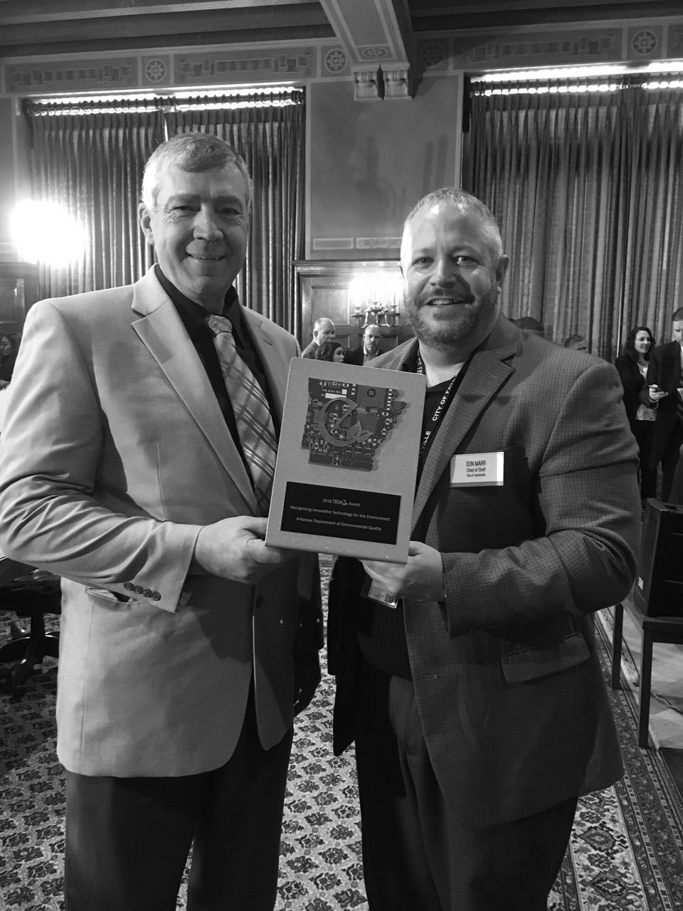 A BIG Win For Fayetteville.  Fayetteville's Chief of Staff Don Marr shares the TECHe Award with BlueInGreen Technical Services Manager Billy Ammons.