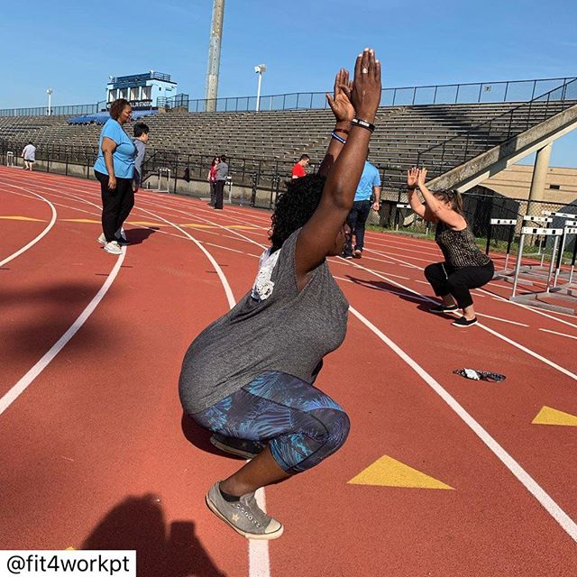 Thank you @fit4workpt for the work that you do. This is what #sustainablemovement is all about, to make exercise and movement more accessible, sustainable, and inclusive.  I look forward to continuing to support and help the amazing women and men who care and help others. Love everything about this post from my friend @fit4workpt ! 🙏🏽💖 ................. ................. ................ Participating in @theaphpt #5x5move challenge create your own challenge. I am investigating neuromuscular prerequisites for lifting. So today, I asked some awesome co workers to squat...I wanted to see if they had some of the biomechanical prerequisites needed for lifting. These ladies are good movers who have to use lifting and body strength in their daily job to support students in schools. We had fun, but then we got to brass tacks...a shoulder, an ankle, a knee problem. In the last photo, one person is telling me how she has limited shoulder mobility and can't touch her hands behind her back. I have 2 thoughts... I see tight shoulders and hamstrings, ankle mobility issues...so here are my questions.  1. If you are required to lift for your job and you have underlying musculoskeletal problems, at what point will you make them worse?  2. Whose responsibility is it to address these concerns? Does a person have to wait to be injured?  I'll tell you what we did do...we had conversations about who has what. I suggested they sign up for Sustainable Shoulders class and exercise program with @sustainable.movement so they could have some things to work on. Her stuff is awesome. Plus I have some other ideas of supports. Asking @theaphpt members for some thoughts too. We need some population health interventions to support the health of these workers. Any other ideas? 💡 #fit4workpt #functionalmovement #movementismedicine💊 #health#physicalactivityandhealth @andreagayle15
