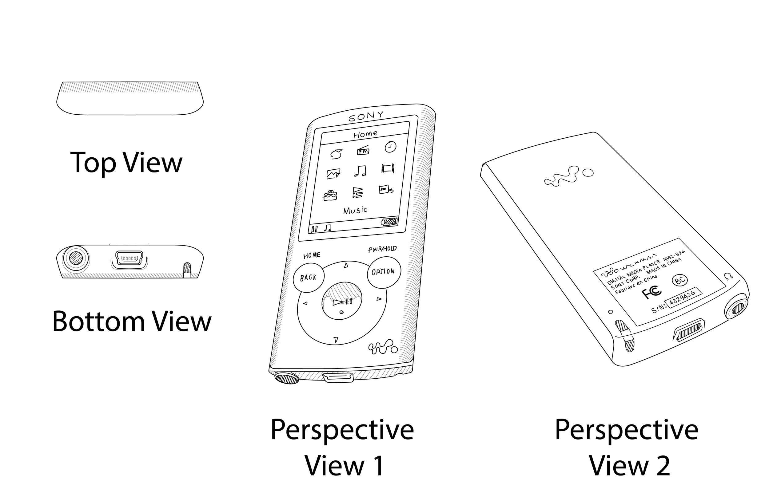 The Sketches created as assets for prototyping method comparisons