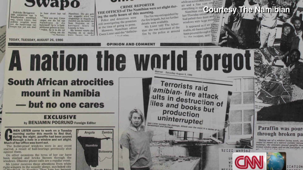 Production Uninterrupted : Journalist Gwen Lister on the front page of The Namibian, after their office was bombed in October 1988. Image Courtesy: The Namibian via CNN