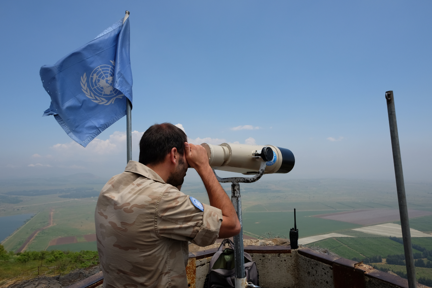 United Nations Observer Force personnel watching the border between Israel and Syria.  Photo By: Sarah Tesla