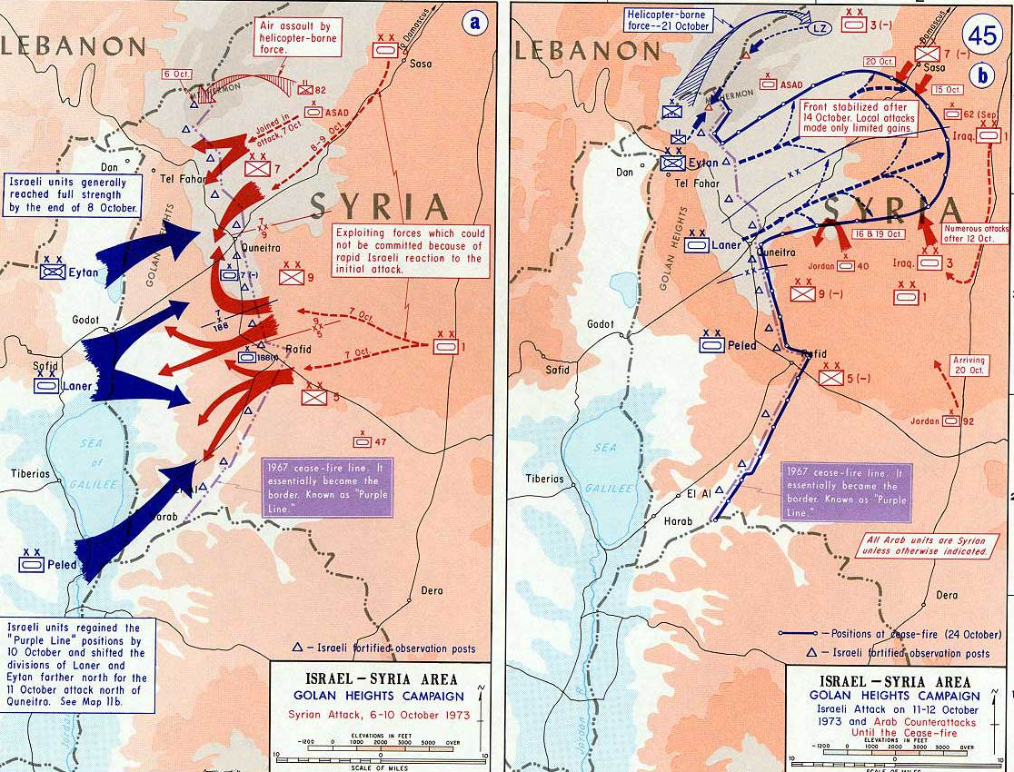A map detailing clashes between Israel and Syria in the Arab-Israeli war in October 1973. Source: Wikipedia