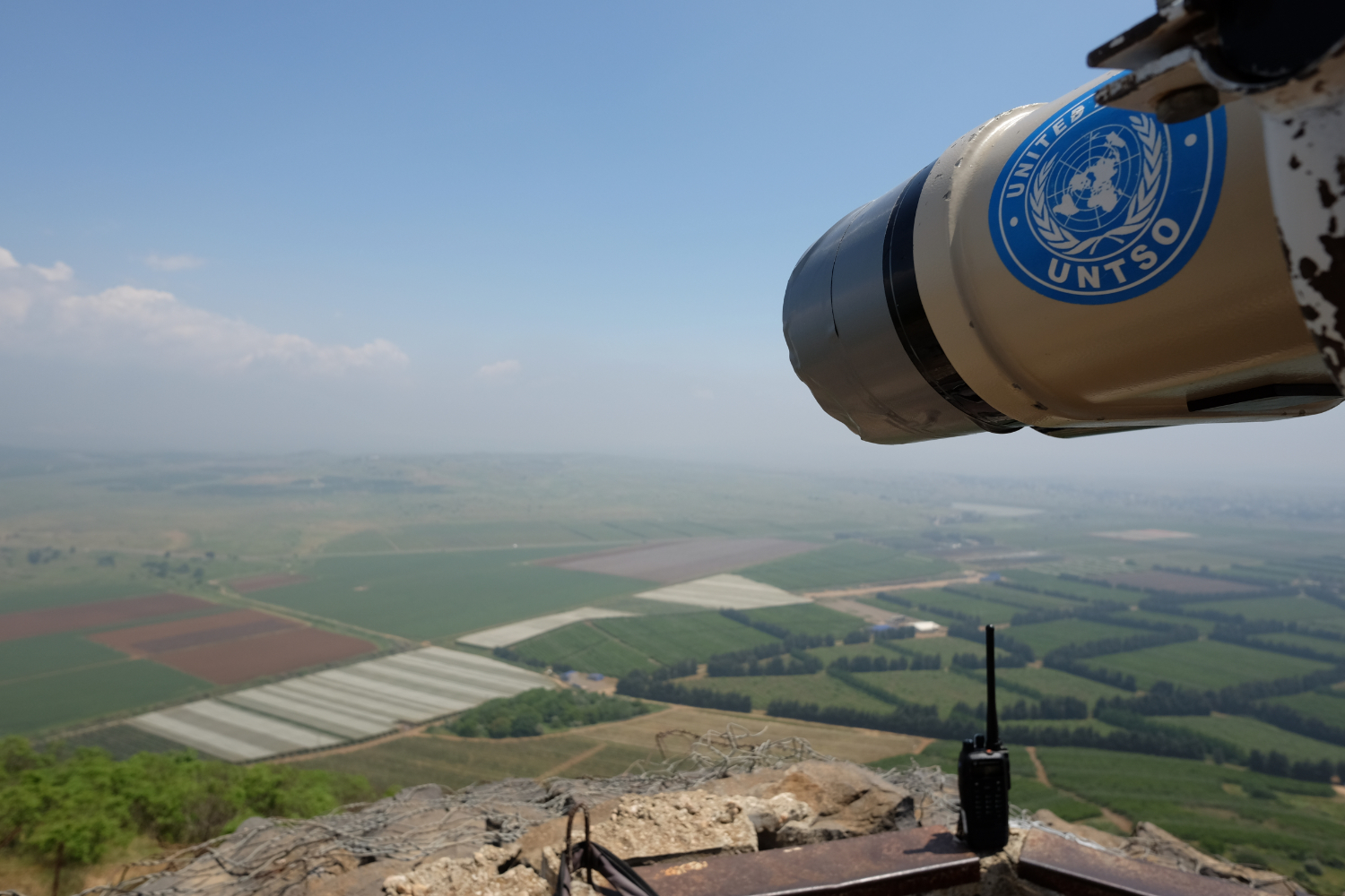 High powered binoculars are pointed towards the DMZ between Israel in Syria from Mt. Bental in Israels Golan Heights.  Photo By: Sarah Tesla