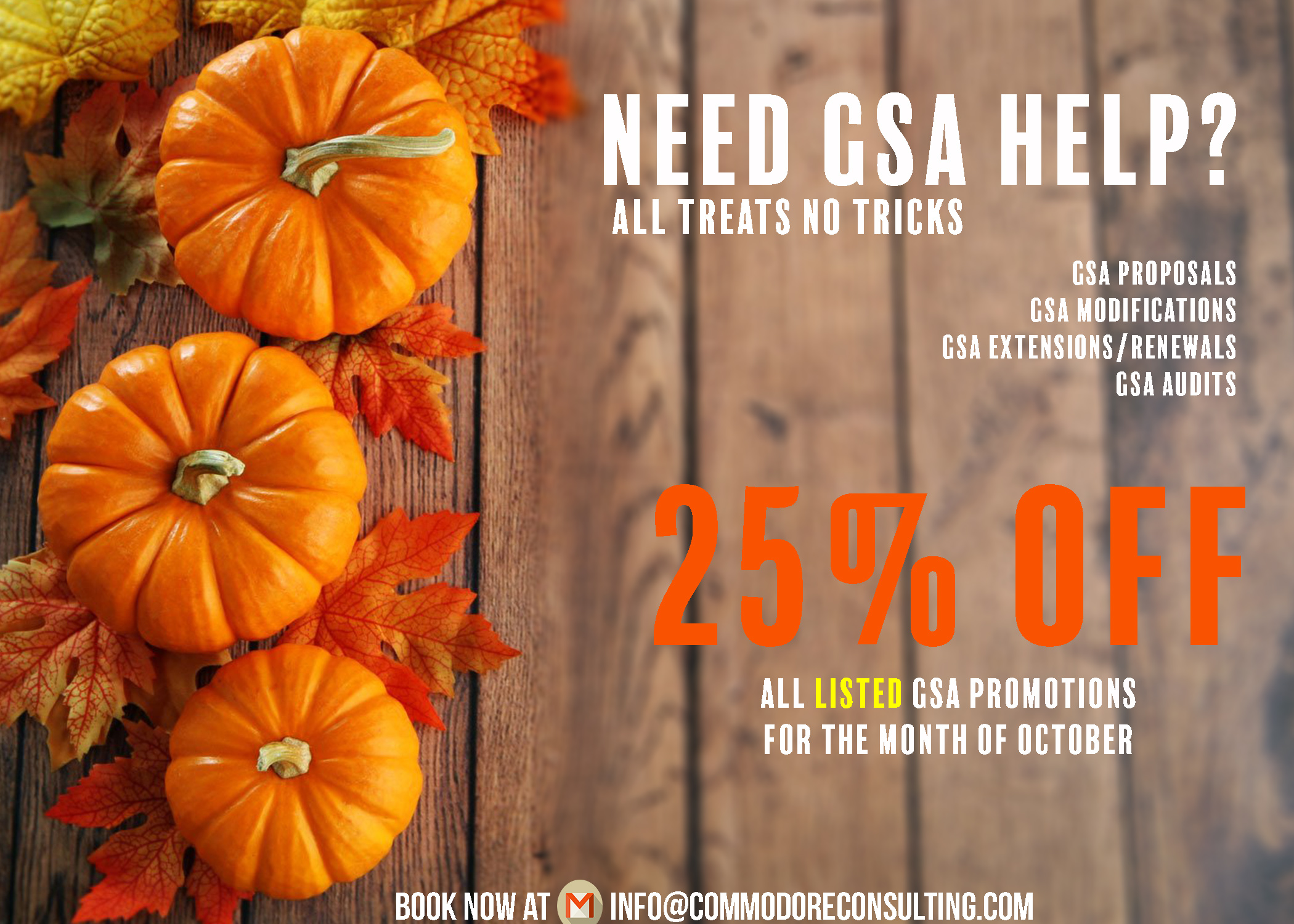 Fall in Love with our GSA Sale - 25% off all LISTED GSA Services for the Month of October