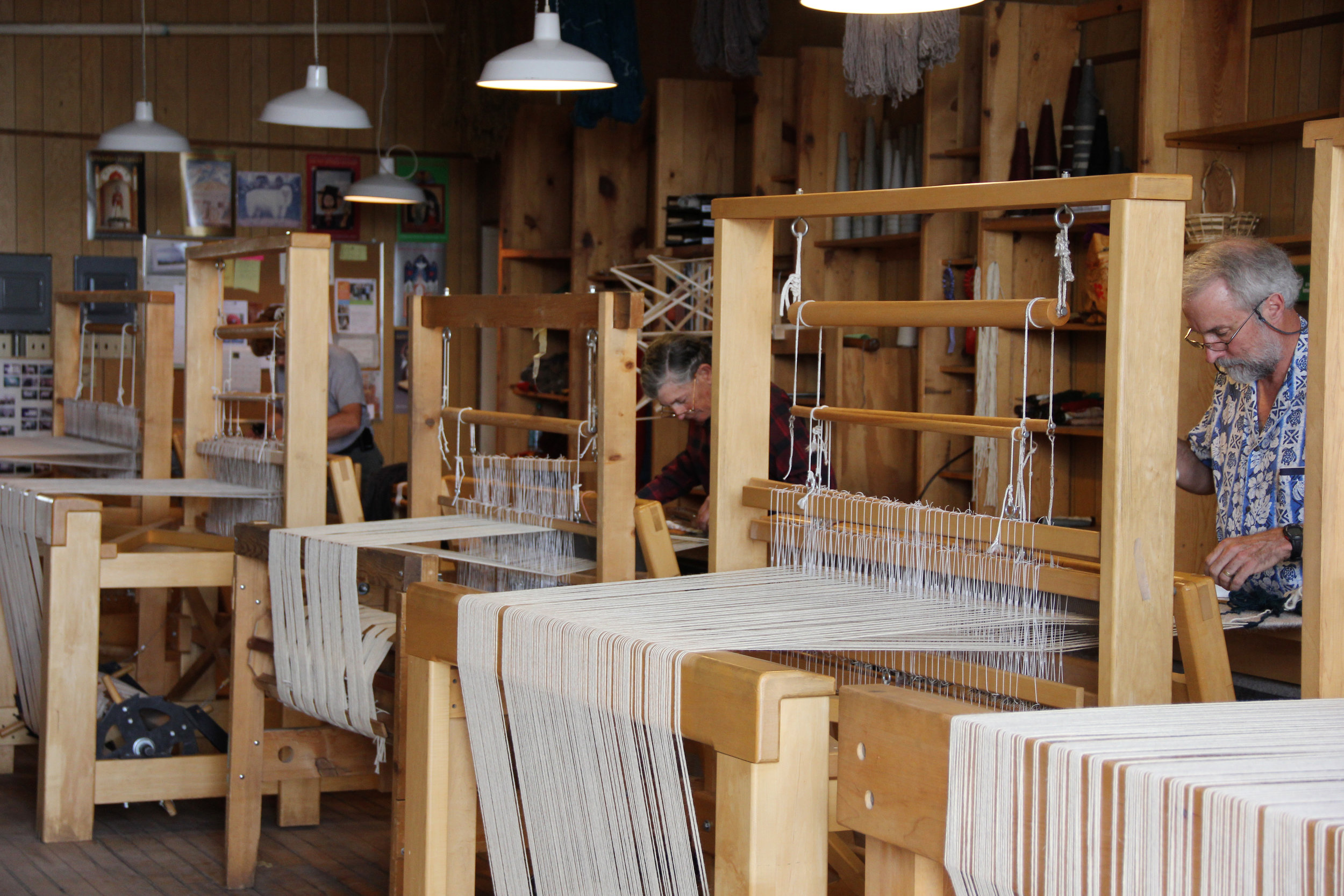 L-R: Molly, Toni, and a weaving student on the Tierra Wools looms