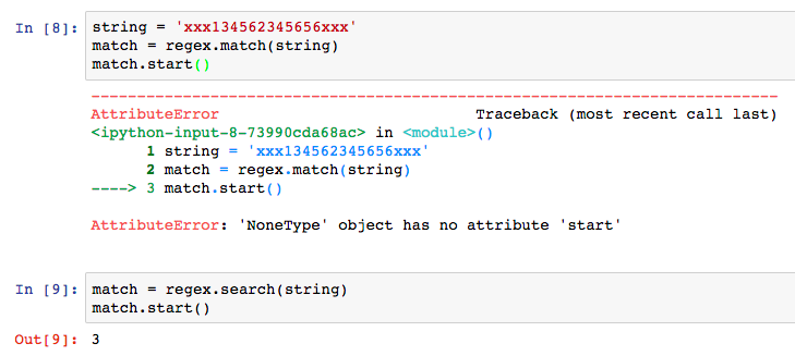 Notice that the search() method finds the match while match() does not. The reason is that match() only looks at the beginning of the string.