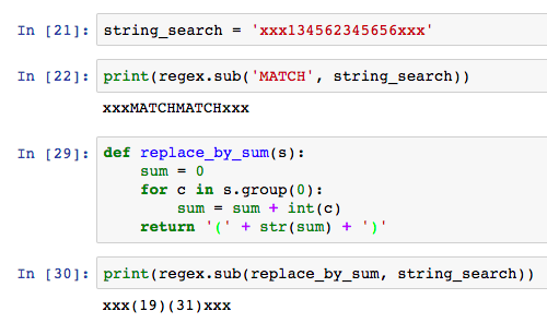The first sub() call replaces with a string, the second call replaces using a function.