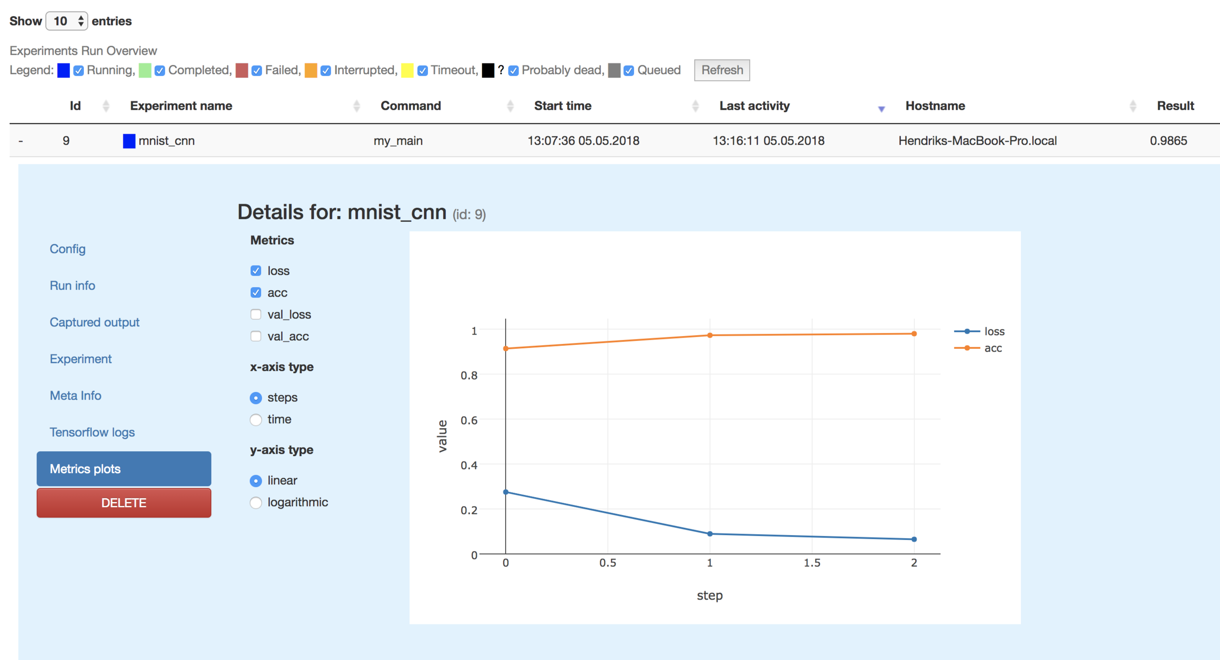 While the experiment is running you can see how the metrics change with each epoch
