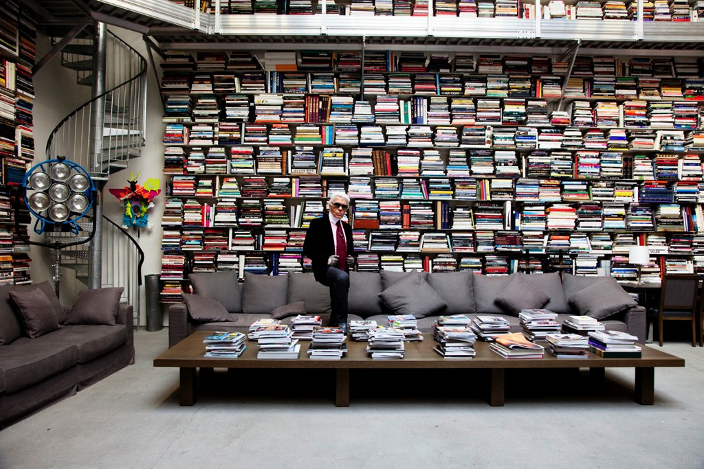 Karl Lagerfeld in his library, 2009 - 23 x 31.5 inch digital c-printSigned edition of 8, mounted on plexi, framed$3450