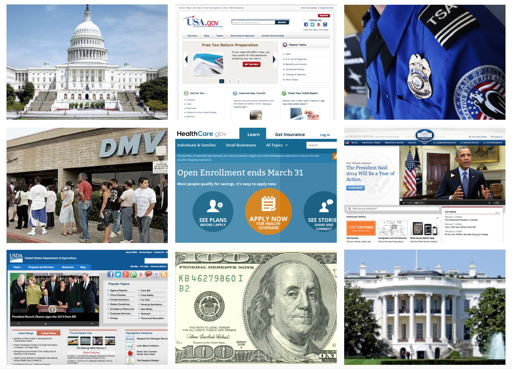 Visual audit of government websites, money, uniforms, and architecture