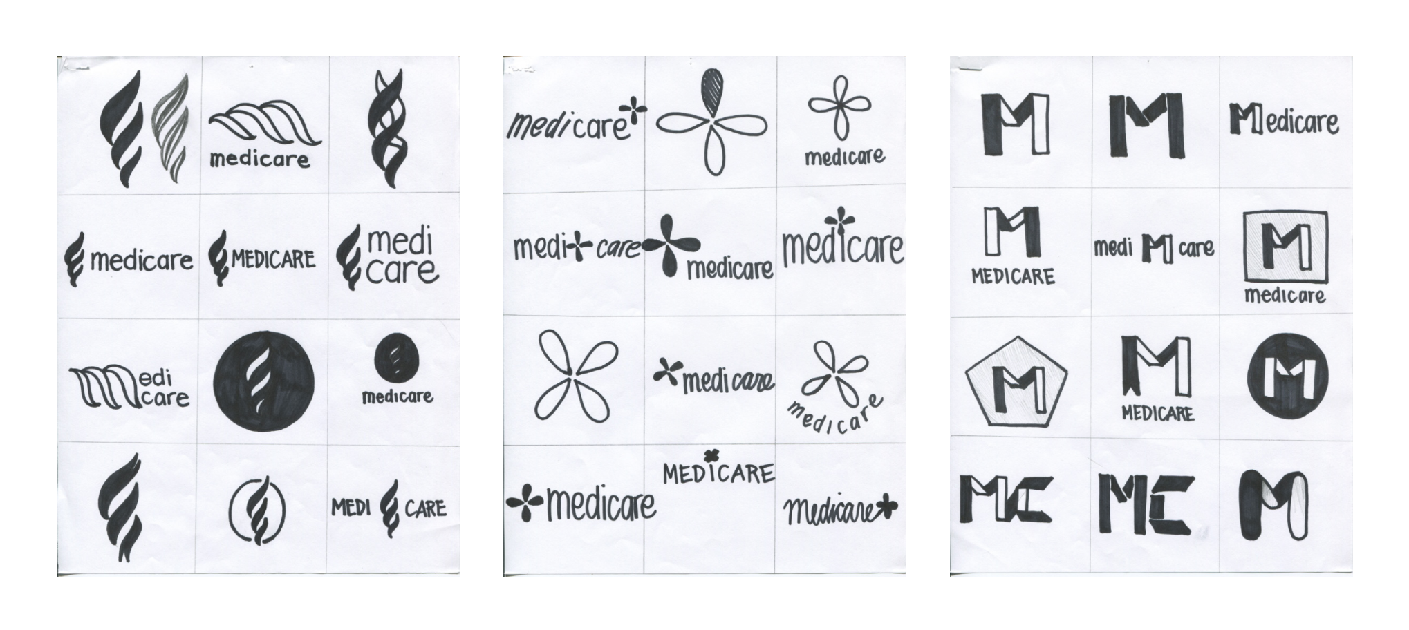 Based upon peer critiques, I chose three directions to experiment with. Keeping my key attributes and mission in mind, I sketched symbols with subtle references to a torch, medical cross, and the four parts of Medicare. At this stage, I kept the sketches loose to get a feel for the shapes I wanted.