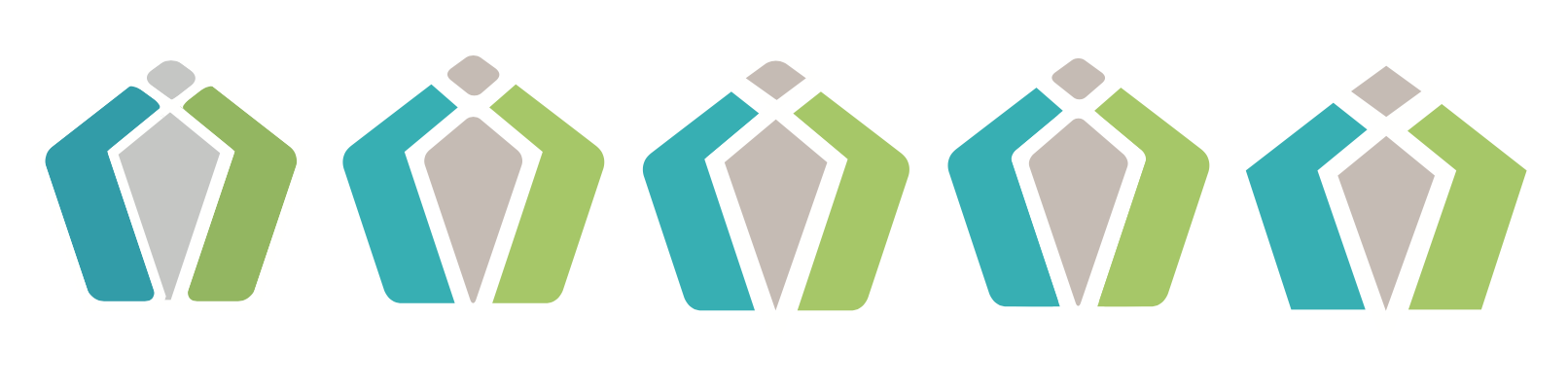 Symbol refinement. The shapes represent two pieces: the government and the health care industry coming together to support the individual who brings them together.