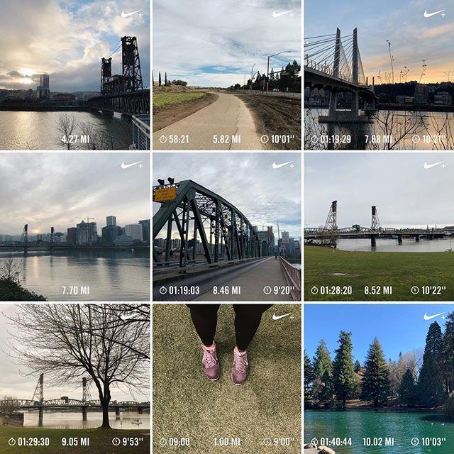 2 // 🏃🏻♀️ Finding my rhythm! Training through the middle of the PNW winter. Ran a lot of bridges. . . #NikeRunClub #roadtohalf #runpdx #halfmarathontraining #orangetheory #otf