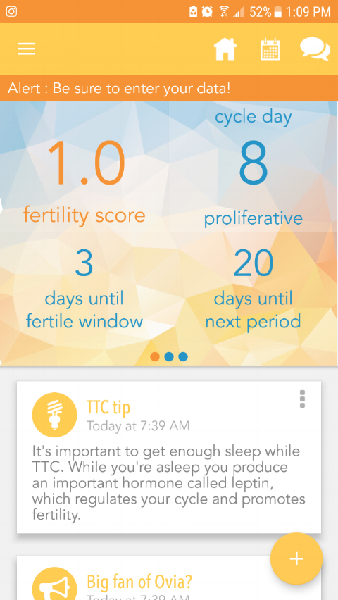 Screenshot of the home page on my Ovia Fertility app