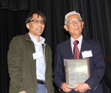 Chapter President John Saito, Jr. and George Inagaki Community Service Award recipient Hitoshi Shimizu.