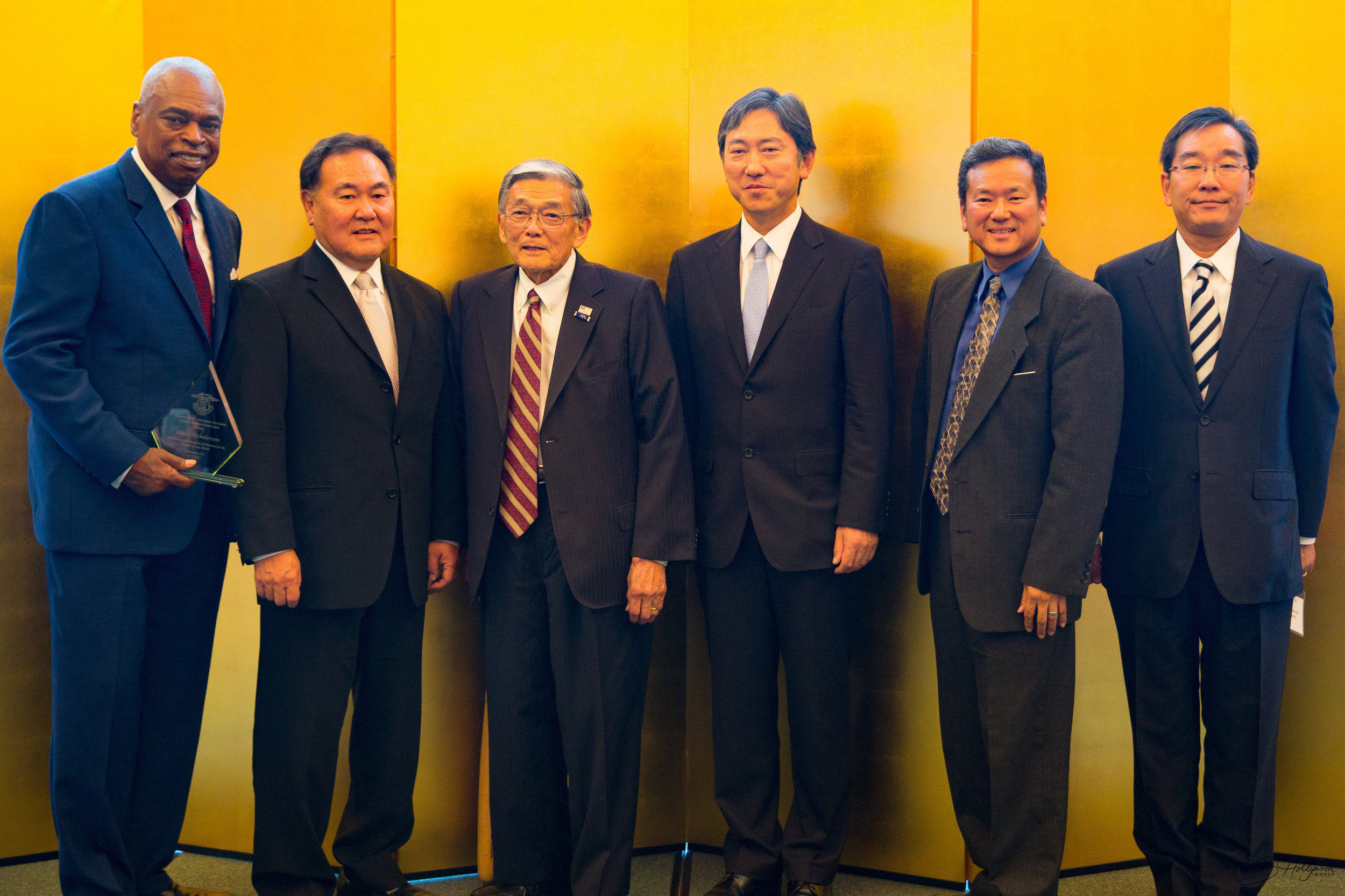 Awardees and dignitaries at the private reception hosted by the Embassy of Japan at the Ambassador's Residence. From left to right: Wade Henderson, Bill Yoshino, Secretary Norman Mineta, Embassy of Japan's DCM Oike, JACL National President Gary Mayeda, Embassy of Japan's Minister Sasayama.