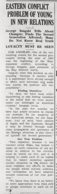 George Inagaki Leadership - Pacific Citizen, January 1938