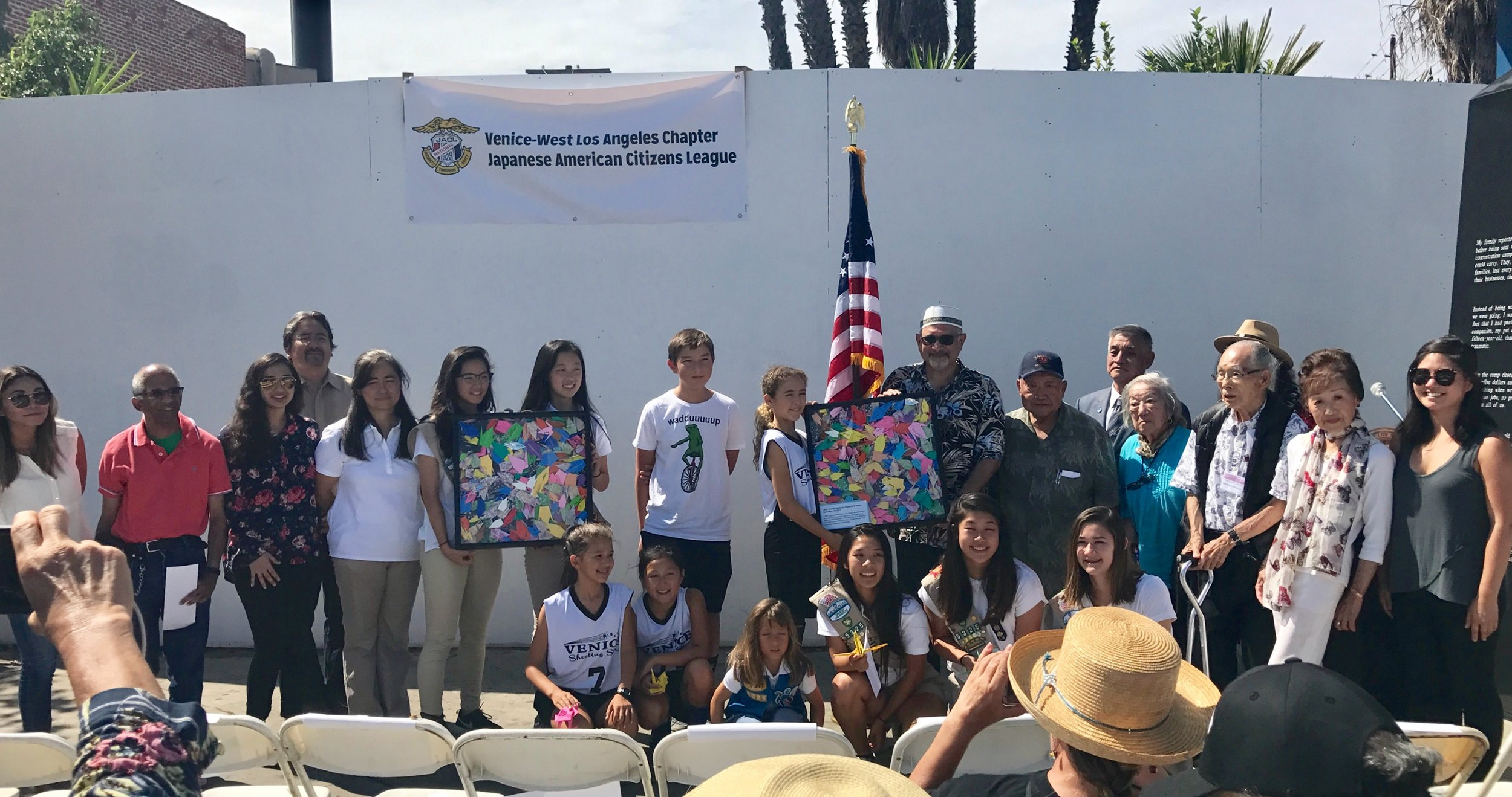 Japanese American youth and former WWII incarcerees, Venice-West LA JACL Board Members and Camp Musubi present 1,000 Cranes to King Fahad Mosque of Culver City.