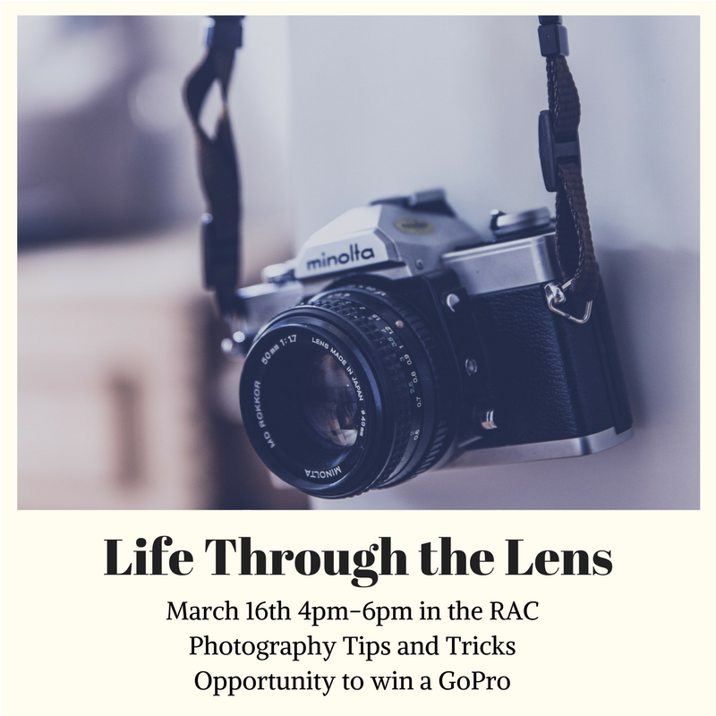 - Hello Apartments and CVC~Spring Break is around the corner! Are you ready to take cool and beautiful pictures? Come by the RAC on March 16th to learn some photography techniques! A chance to win a GoPro! Food and snacks provided!#lifethroughthelens #APTS #CVC #AmazingRAs