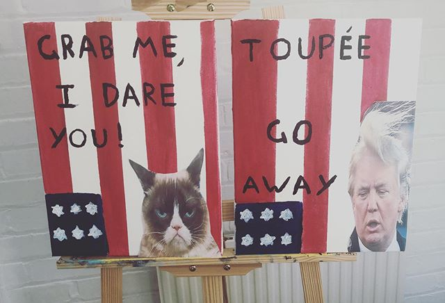 Getting arty for the anti Trump rally tomorrow.