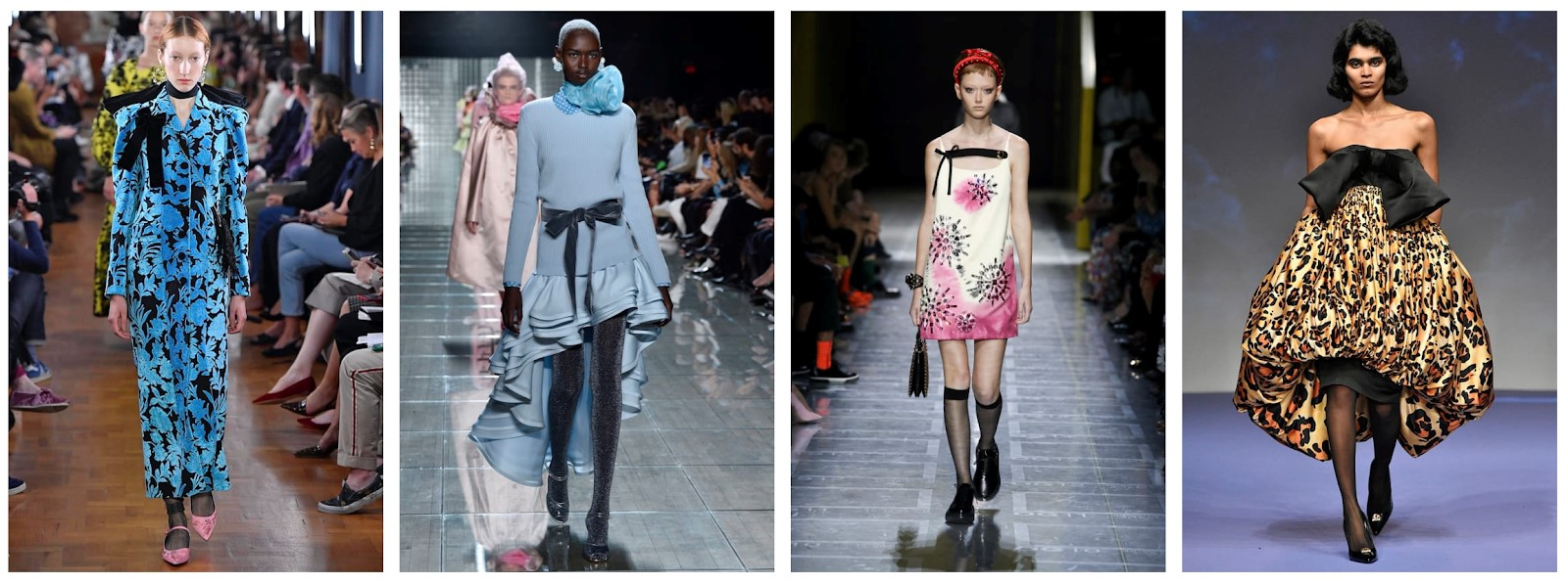 L-R: Erdem, Marc Jacobs, Prada, Richard Quinn    Images: tag-walk.com