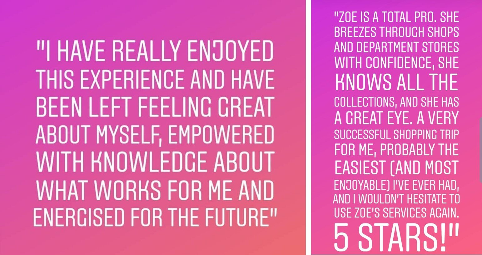 Reviews from Zoe's clients since she's graduated.