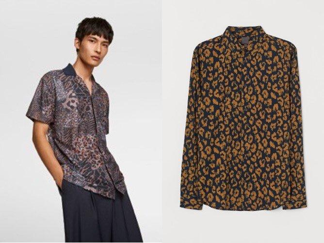 Animal print shirts: H&M, Zara