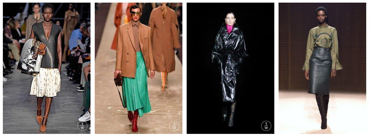 L-R: Burberry, Fendi, Balenciaga, Hermès    Catwalk images: tag-walk.com
