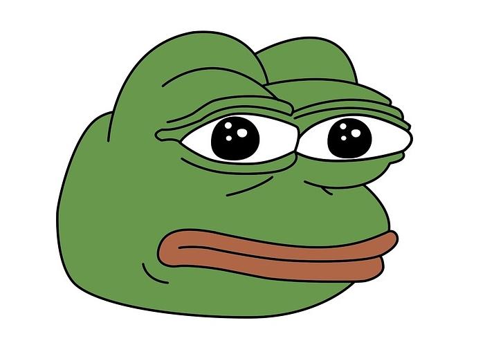 Webstripfiguur Pepe the frog, die geassocieerd raakte met extreemrechts.
