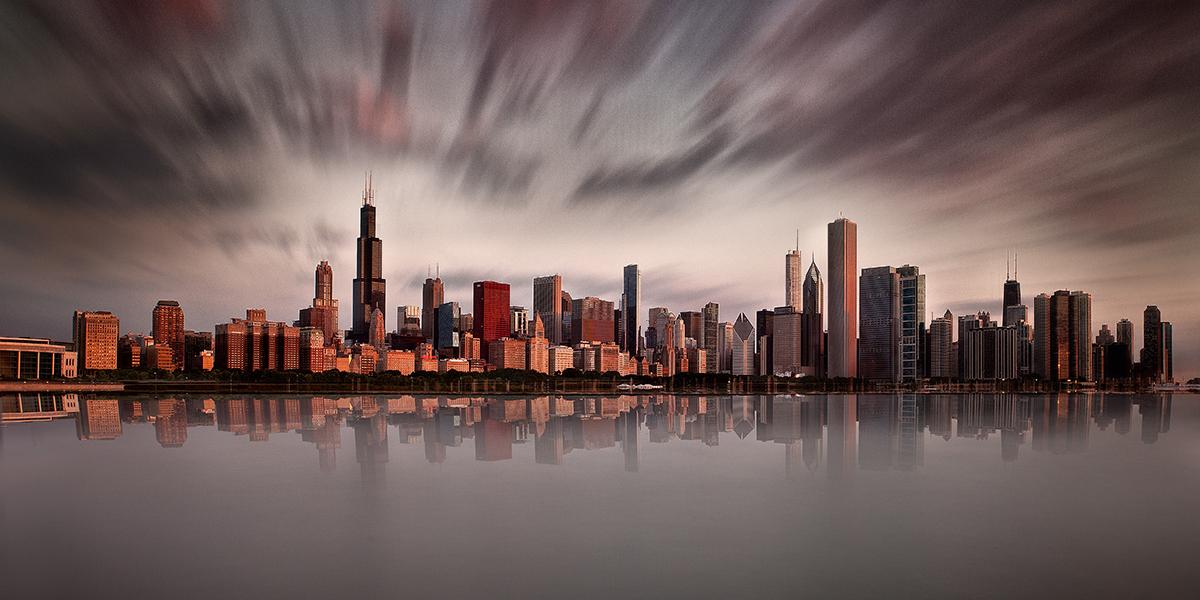 Chicago Skyline Long Exposure Red
