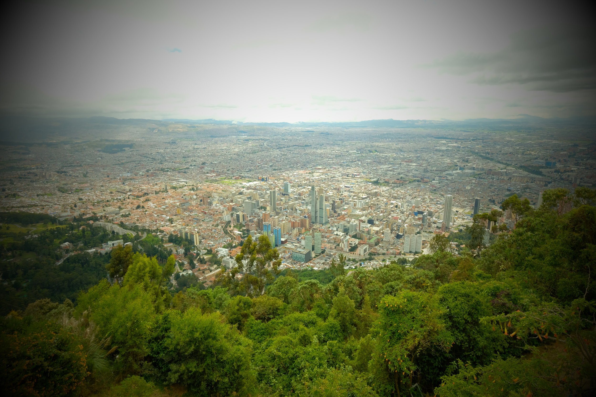 Bogota from Monserrate Mountain  Toy Camera Filter effect creating retro looking colours.