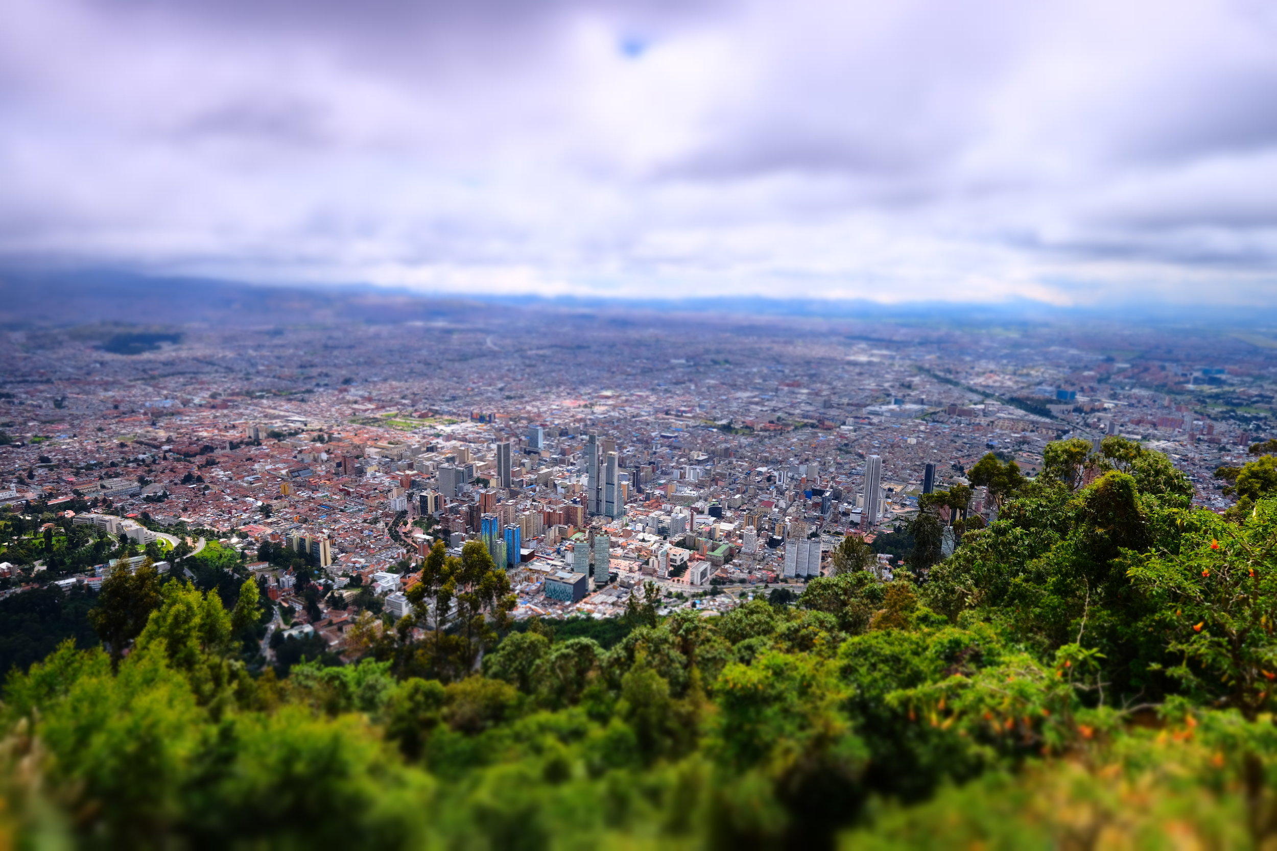 Bogota from Monserrate Mountain  Miniature Filter creating a blur on the top and bottom of the image