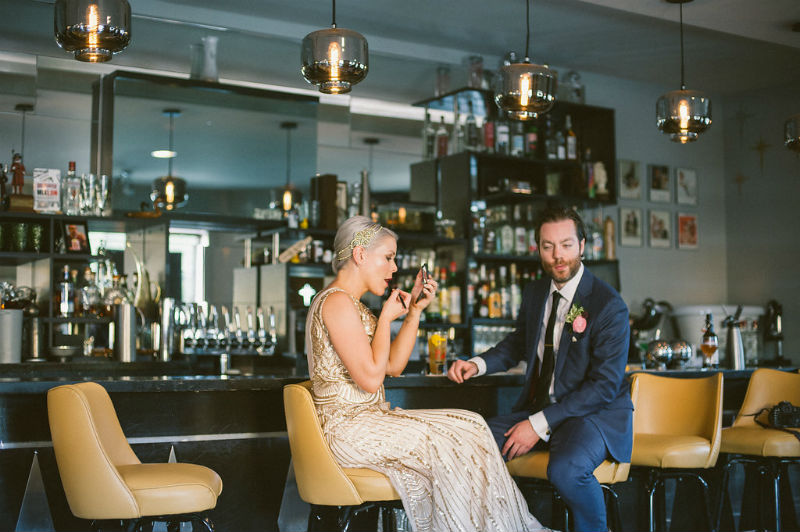 Real Mignonette bride Taylor at her Chicago wedding, photography by Couple Of Dudes.